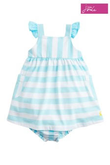 Joules Green Penny Stripe Jersey Dress & Knicker Set