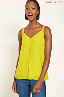 Mint Velvet Yellow Button Front Cami