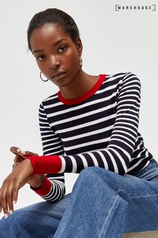 Warehouse Blue Contrast Breton Stripe Jumper