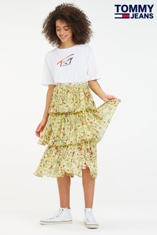 Tommy Jeans Floral Festival Tiered Midi Skirt