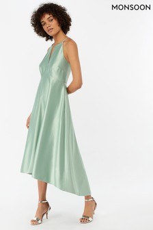 Monsoon Ladies Green Sara Fit & Flare Satin Dress