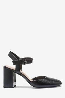 Hardware Detail Block Heel Shoes