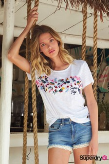 Superdry White Embroidered Tee