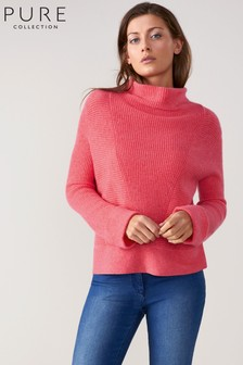 Pure Collection Pink Cashmere Ribbed Drape Neck Sweater