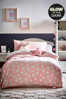 Bettbezug und Kissenbezug im Set mit im Dunkeln leuchtenden Sternen