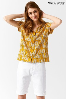 White Stuff Yellow Memon Printed Jersey Shirt