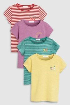 מארז ארבע חולצות טי עם שרוולים קצרים והדפסי פירות (3 חודשים-7 שנים)