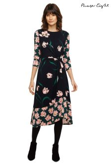 Phase Eight Navy Multi Leto Floral Print Twist Waist Dress