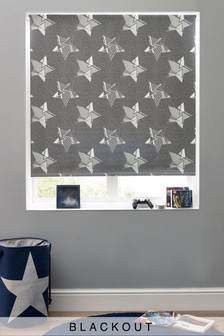 Geo Stars Printed Roller Blackout Cordless Blind