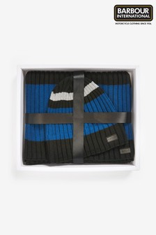 Barbour® International Black/Blue Knitted Hat And Scarf Gift Set