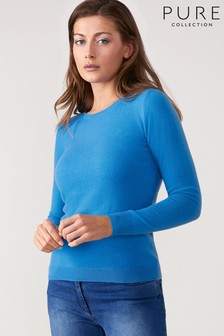 Pure Collection Blue Cashmere Slim Fit Crew Neck Sweater
