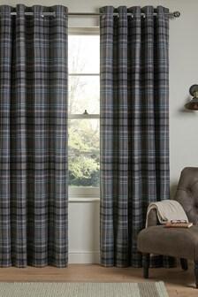 Charcoal Grey Hartley Check Eyelet Curtains
