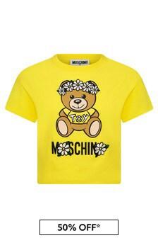 Moschino Kids Girls Yellow Cotton T-Shirt