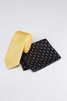 Tie And Conversational Print Pocket Square Set