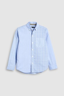 Long Sleeve Splice Check And Stripe Shirt (3-16yrs)