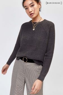 Warehouse Grey Basket Stitch Jumper