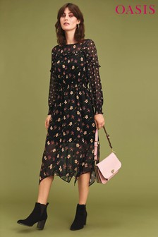 Oasis Black Frieda Floral Long Sleeve Chiffon Midi Dress