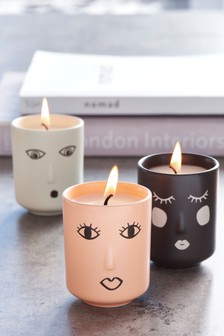 Set of 3 Pink Pepper and Turmeric Ceramic Character Candles