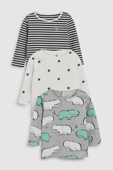 Zestaw trzech koszulek Hippo (0m-cy-2lata)