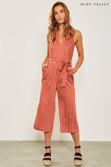 Mint Velvet Brown Rust Stripe Jumpsuit
