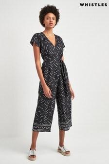 Whistles Black Etta Kuba Print Linen Jumpsuit