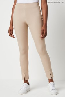 French Connection Brown Sonya Street Twill Skinny Front Split Trousers