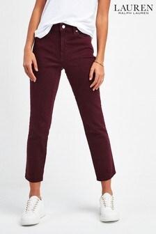 Lauren Ralph Lauren® Burgundy Straight Cropped Denim Jeans