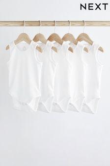 5 Pack GOTS Organic Vest Bodysuits (0mths-3yrs)