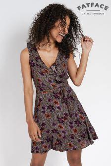 FatFace Steel Martha Jungle Floral Wrap Dress
