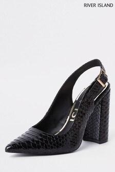 River Island Black Sling Back Court Shoe
