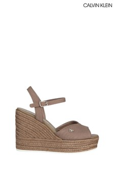 Calvin Klein Brown Ankle Strap Wedge Sandals