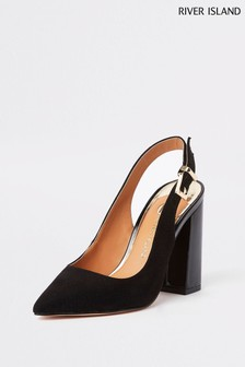 River Island Black Slingback Block Heel Court