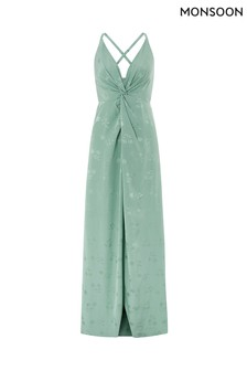 Monsoon Ladies Green Karlie Knot Front Jacquard Dress