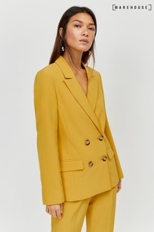 Warehouse Ochre Double Breasted Crepe Blazer