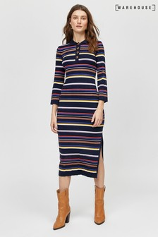 Warehouse Black Multi Rib Polo Midi Dress
