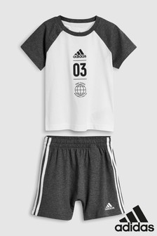 adidas Infant Grey Tee And Short Set