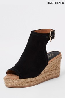 River Island Black Espadrille Wedge