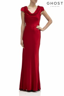 Ghost London Red Sylvia Satin Maxi Dress