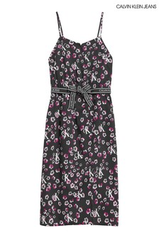 Calvin Klein Jeans Black Mini Floral Midi Dress