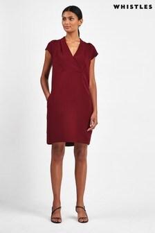 Whistles Burgundy Sabina V-Neck Dress