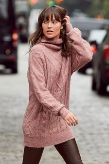 Cable Funnel Neck Jumper Dress