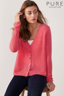 Pure Collection Orange Gassato Pointelle Cardigan