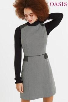 Oasis Black Jacquard Shift Dress