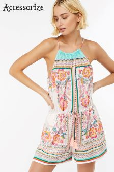 Accessorize Cream Balinese Print Playsuit