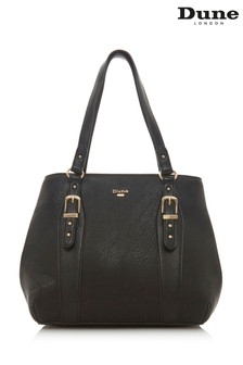 Dune Accessories Black Medium Buckle Detail Tote