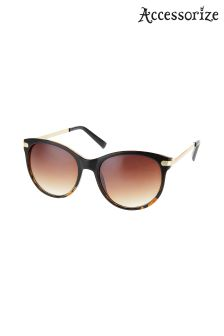 Accessorize Brown Faye Premium Flat Top Sunglasses
