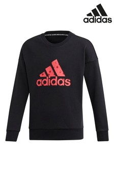 adidas Black/Pink Badge Of Sport Crew Sweater