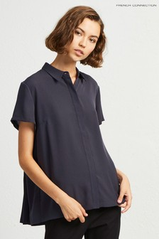 French Connection Blue Classic Crepe Light Shirt