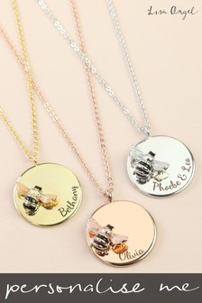 Personalised Rose Gold Bee Disc Necklace by Lisa Angel