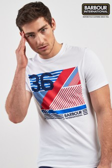 Barbour® International White Distorted Line T-Shirt